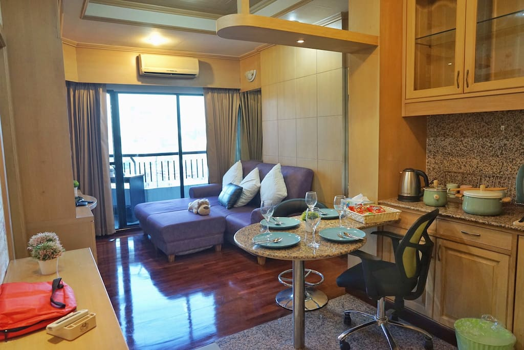 50 sqm, 1 bedroom with spacious living area.