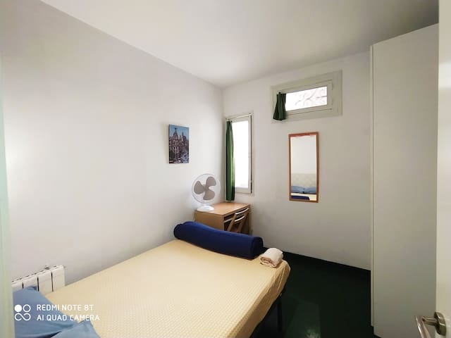 Central room with double bed and two windows.