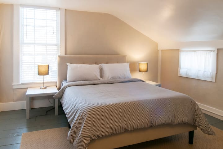 Front bedroom on 2nd floor with queen-size memory foam mattress