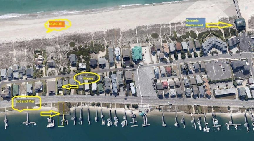 Aerial water view of property in reference to beach and intracoastal water way.