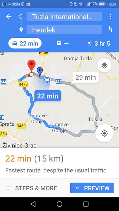 The distance from The Tuzla International Airport