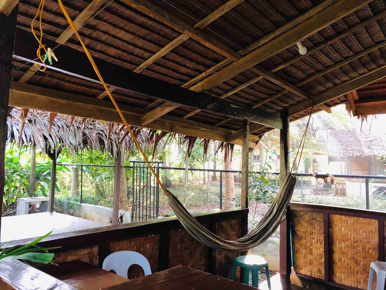 Front porch veranda with seating and a Large comfortable Hammock (duyan))