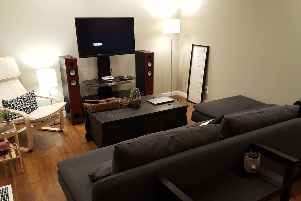 "Living room with 42"" LCD TV, floor standing speakers, Netflix, Amazon. Streaming, WiFi internet."
