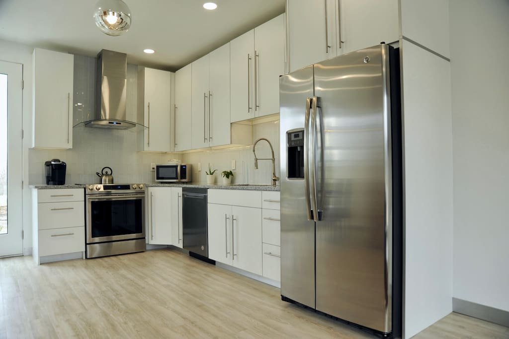 Upper end stainless steel appliances and Kuerig cocoa/coffee maker