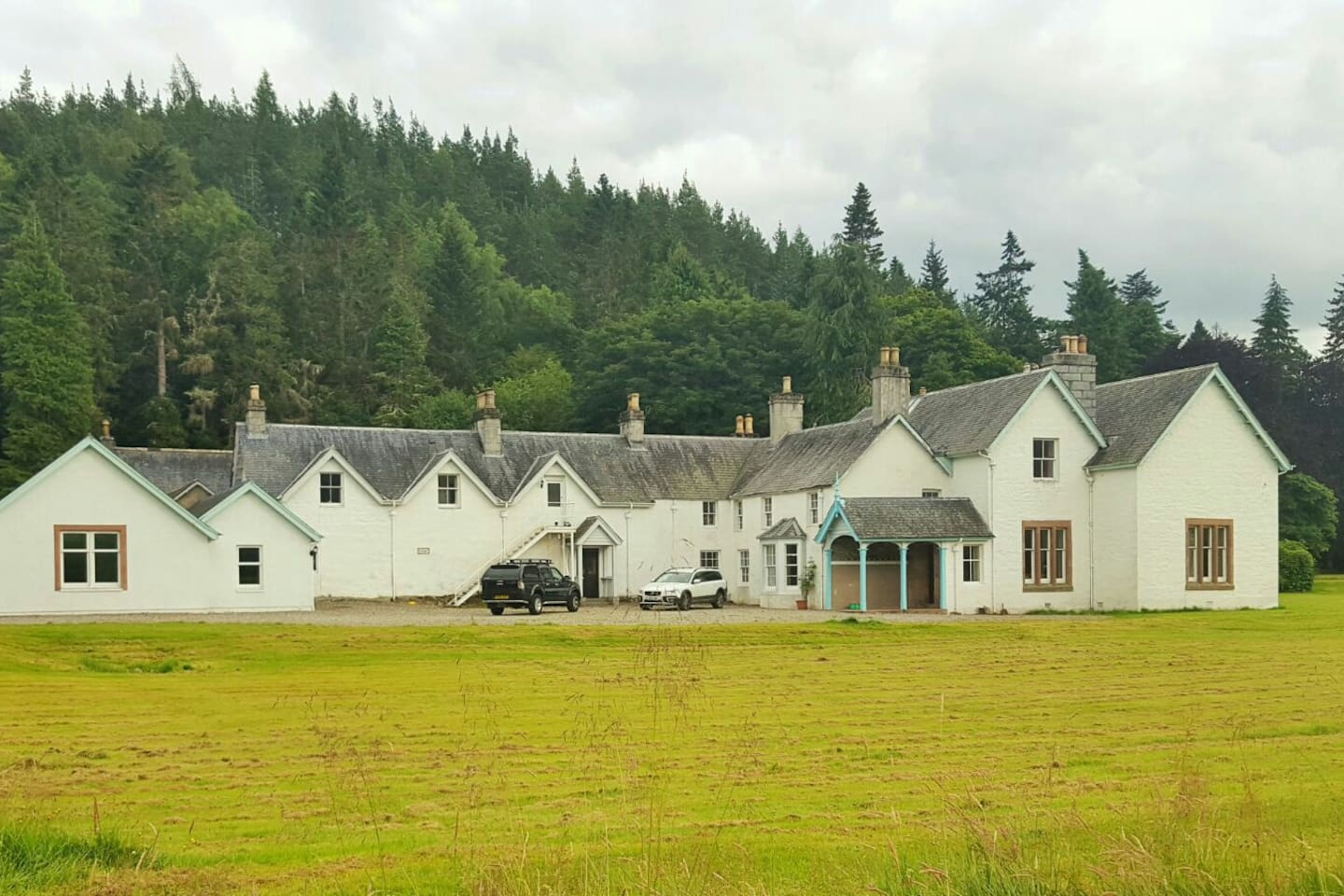 Strathmashie House showing the white staircase up to the Butler's Flat