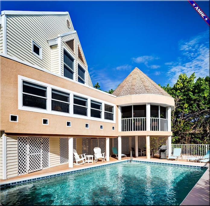 Private Bayside heated pool with deck