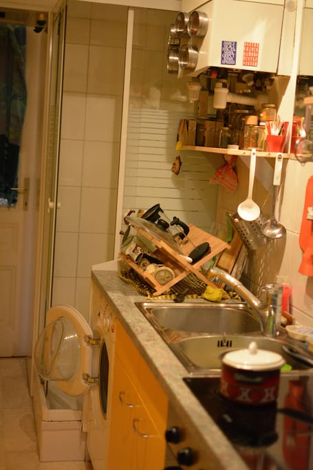 the small kitchen with the shower and washing mashine :-)