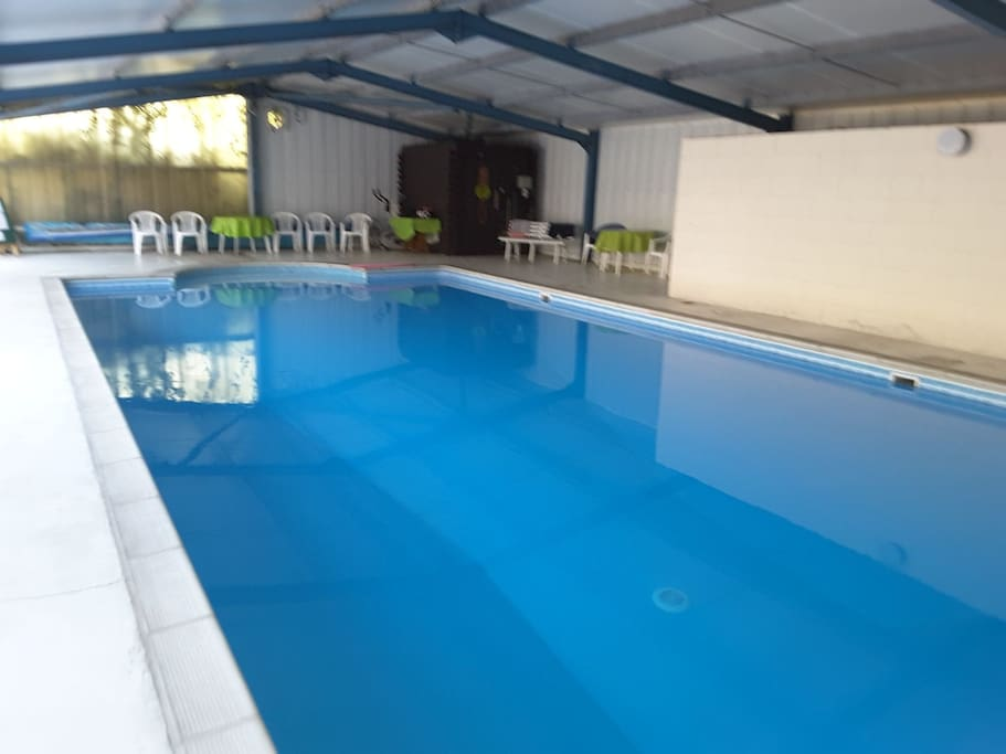 indoor heated swimming pool, for your sole use. complete with shower and toilet. 1 meter deep at shallow end, 3 meters at the deep end. children must be supervised at all times. pool open from 8am to 8pm daily.