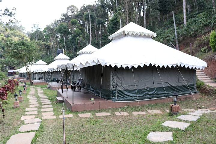 Premium luxury tented room with hill and pond view