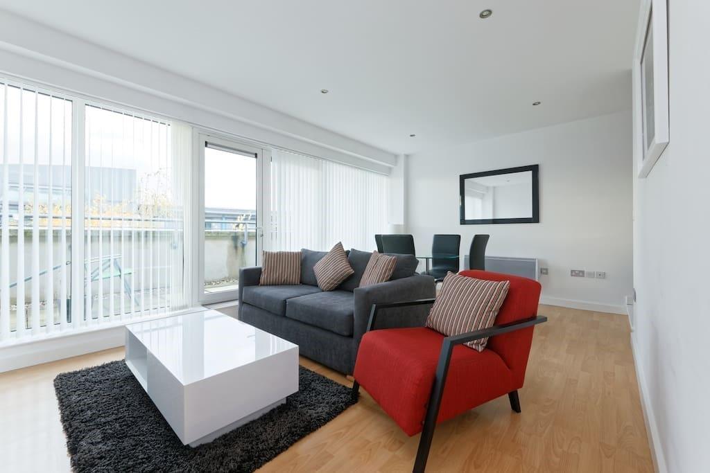 Clean, open, modern living area