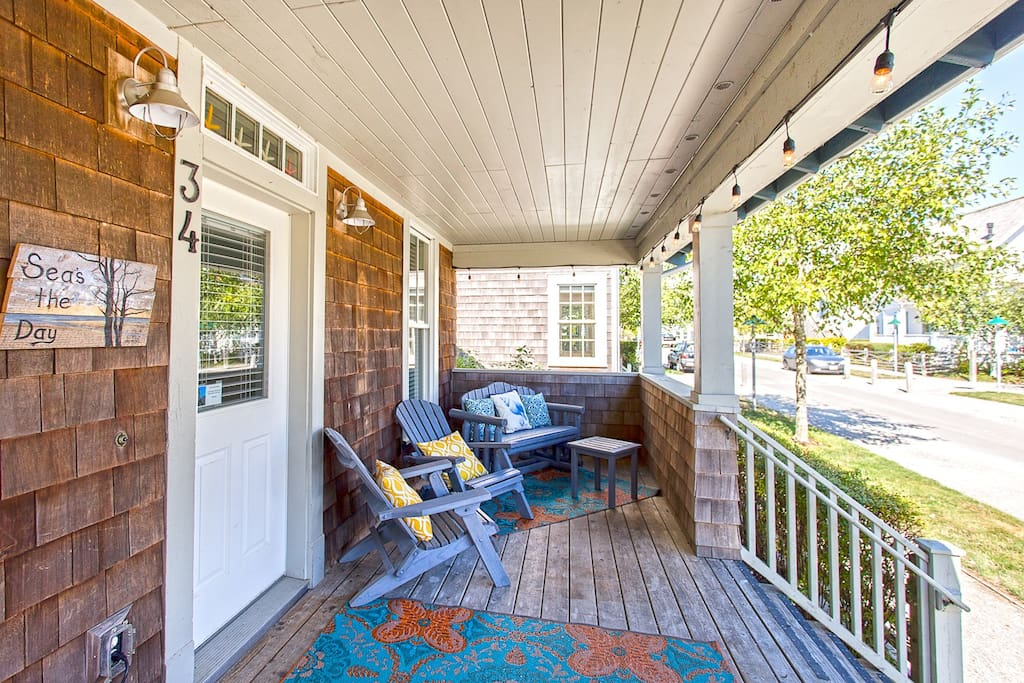 Outdoor seating on the front porch
