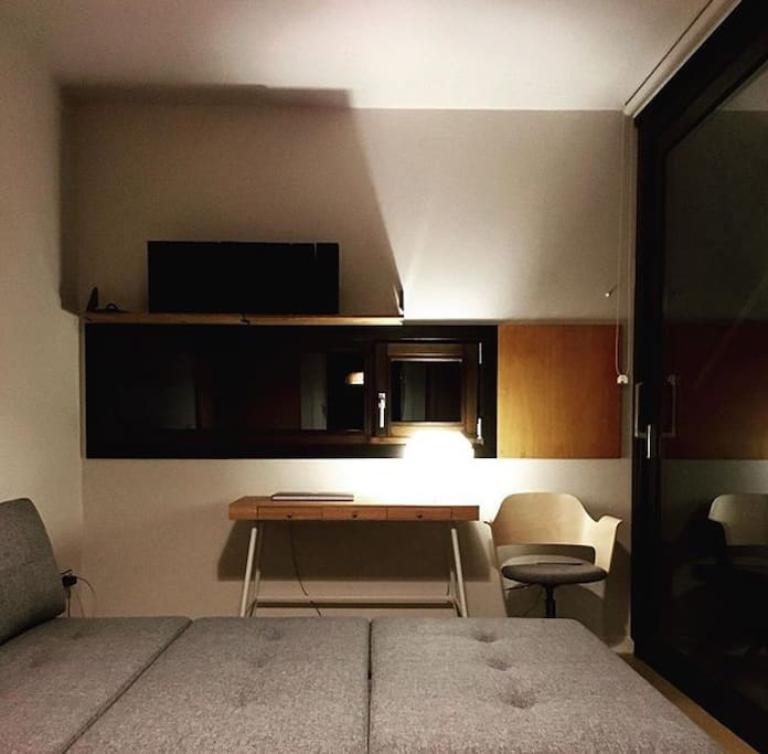 Living space with bed open