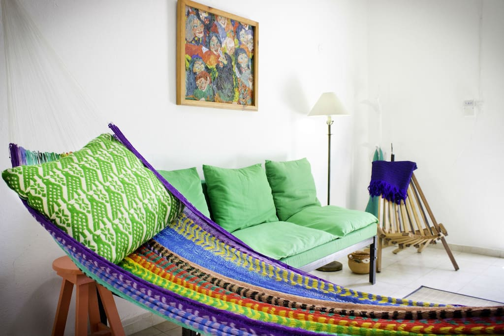 Like all Yucatecan homes, the Casita comes with hammocks to be slung in the living room or the bedroom.