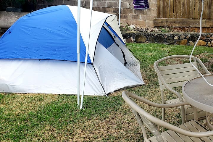 #4  Affordable tent Outside shower/ potapotty
