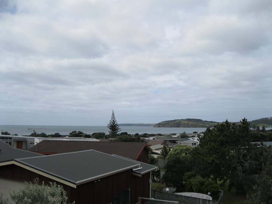 view from upstairs deck over Omaha Bay