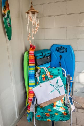 Grab all of your beach gear from the lanai….