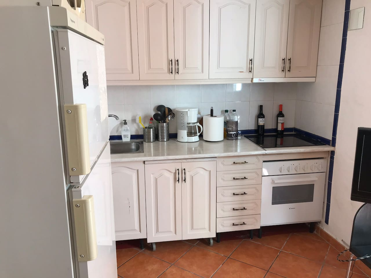 Well equipped kitchen with hob, oven/grill, microwave, fridge-freezer, electric kettle, toaster and coffee maker.