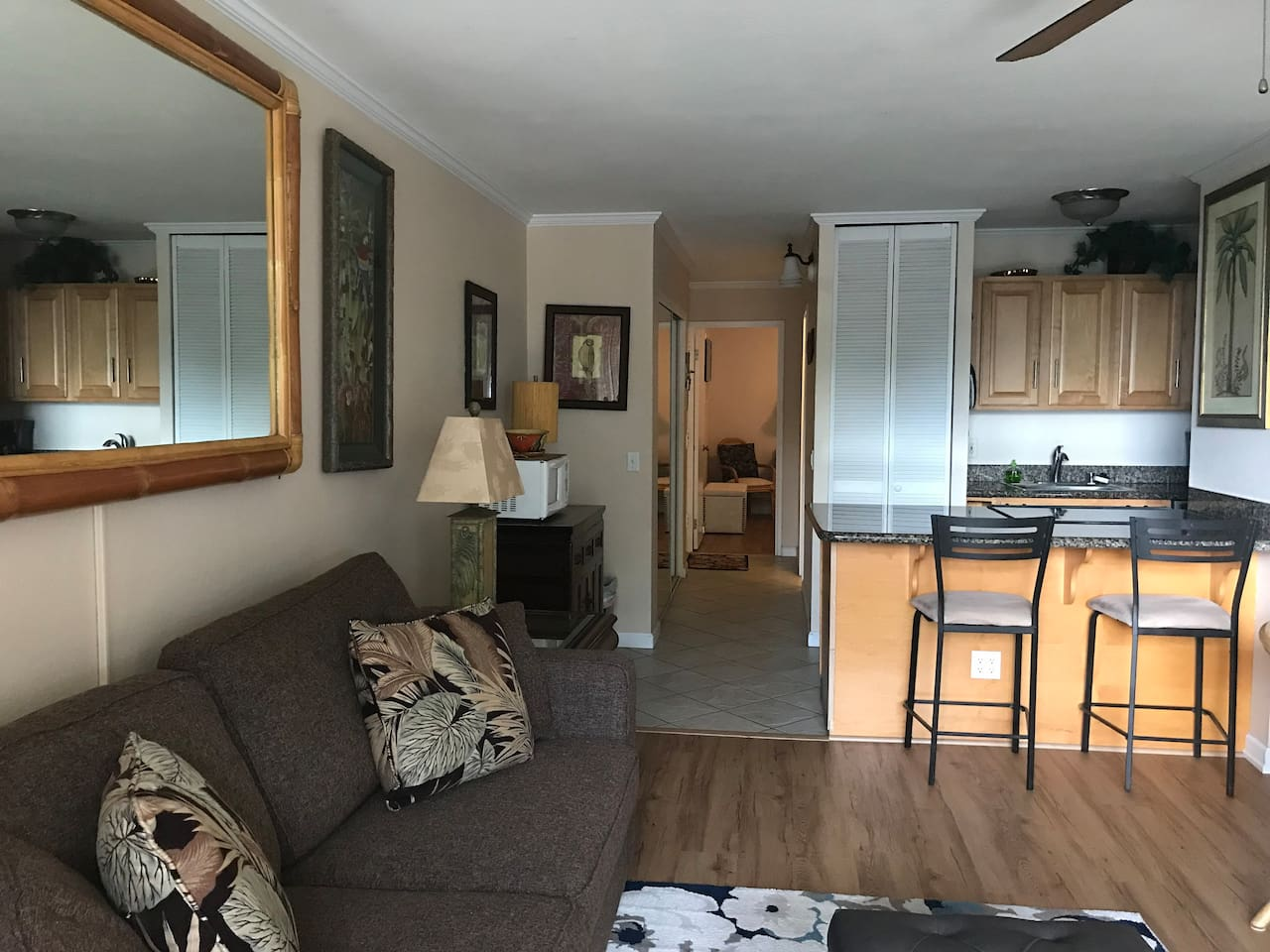 Living room Kitchen, hallway to bedroom and bath.