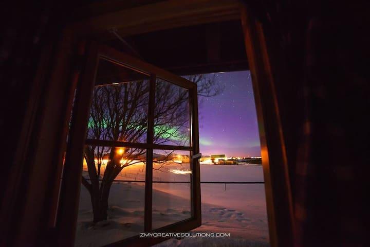 Aurora Borealis from cabin window