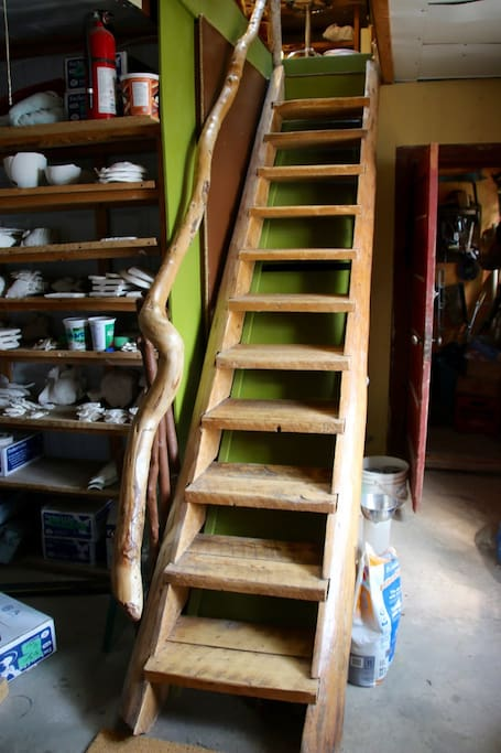 These are the rustic stairs leading up to the Potters Loft.