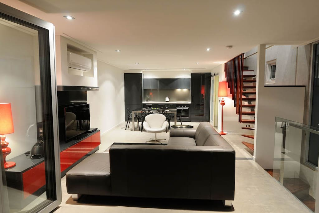 Living area through to Dining and Kitchen
