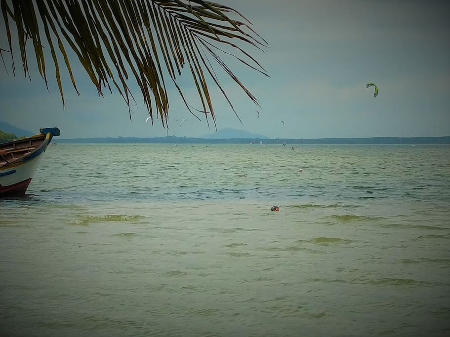 View from the backyard :) The place is ideal for kitesurfing, windsurfing, sailing and kayaking