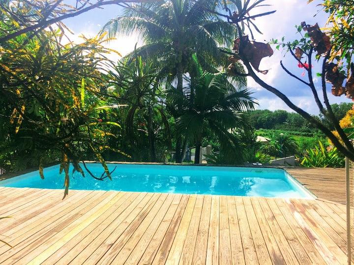 Gîte avec grande terrasse sur piscine privée.