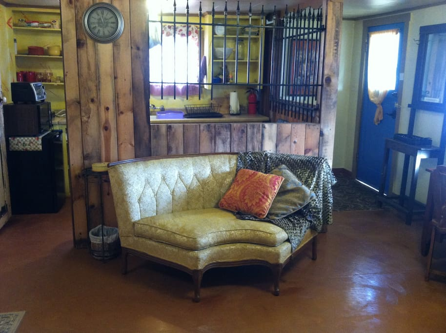 settee in front of kitchen