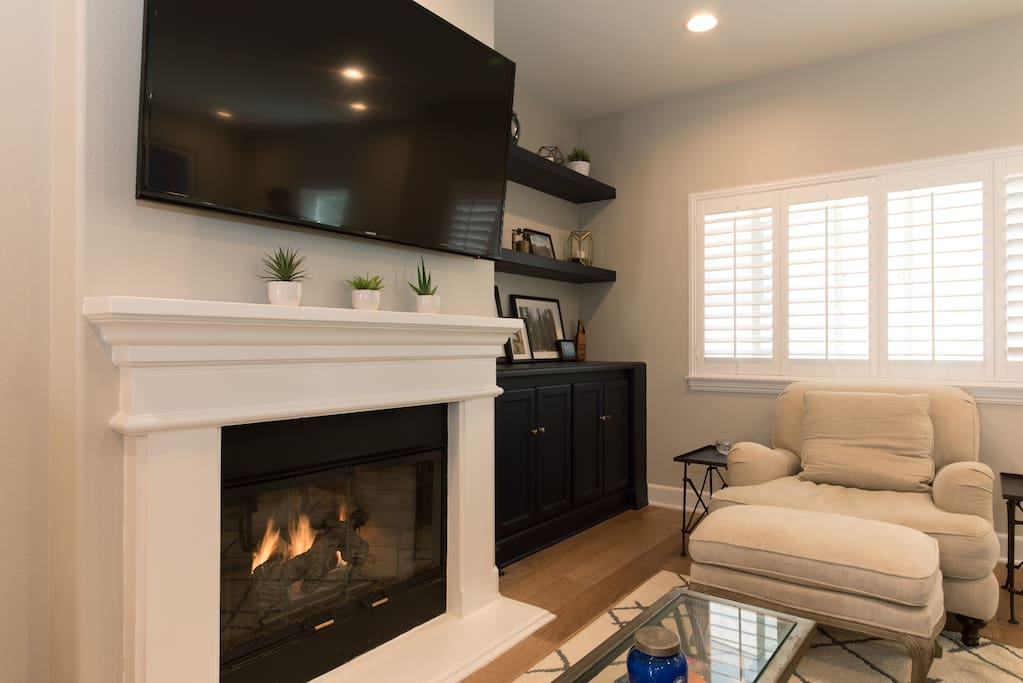 Relax by the gas fireplace