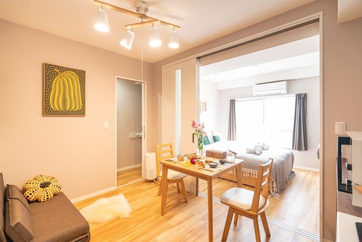 东浅草一室一厅家庭型公寓;配套洗衣机/小厨房/桌椅/WIFI;适合长住402