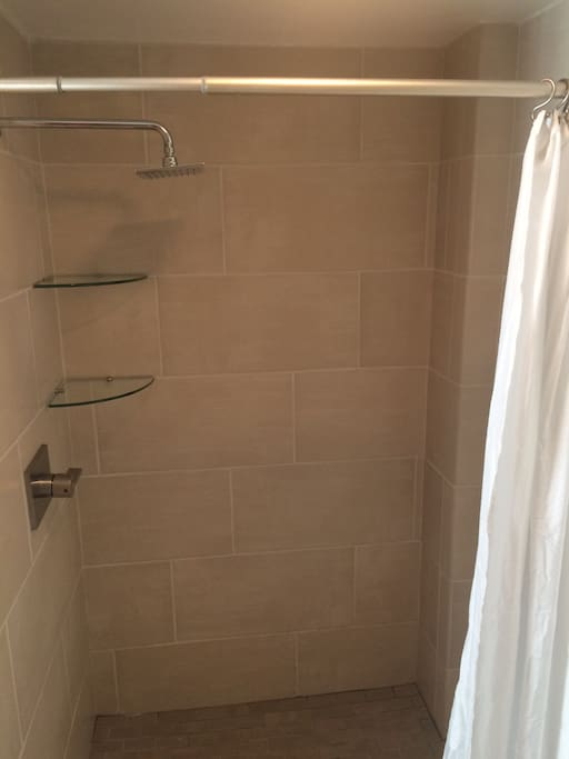 Main bathroom with tile shower, toilet and vanity. Located near the living area.