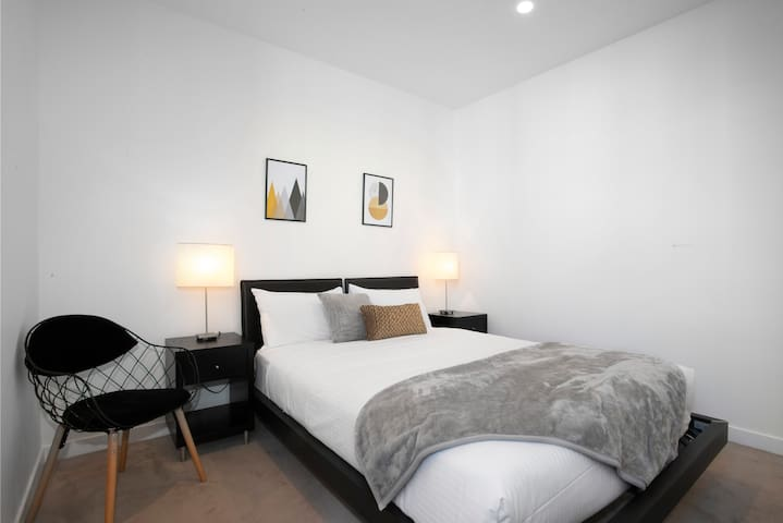 The second bedroom is replete with a double bed and hotel-quality linen professionally cleaned after each stay