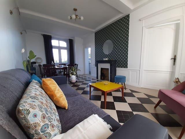 Salon, canapé convertible, tv