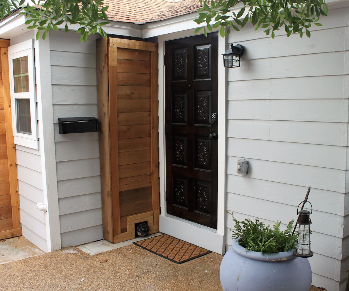 Well lit, private, exterior entrance. Password protected lock allows for easy access.