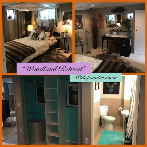 Large guest bedroom with ensuite powder room