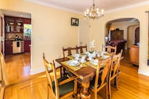 Dining room has room for 6-8 and can be prepared for your special events such as dinner parties or reunions.