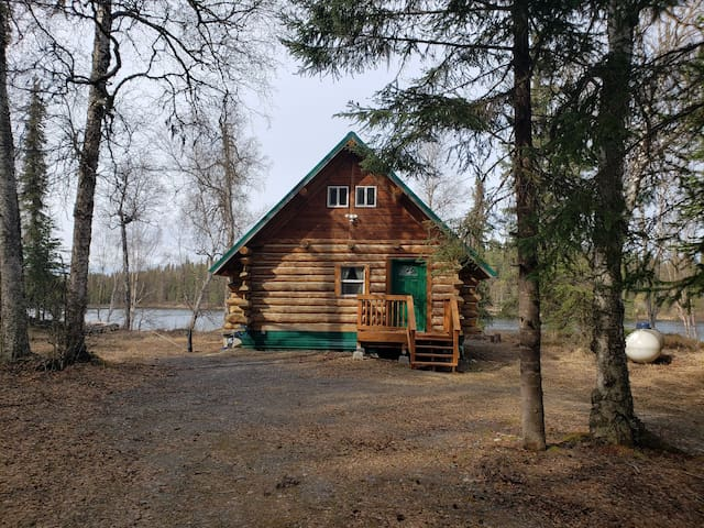 Little cabin in the woods on a lake