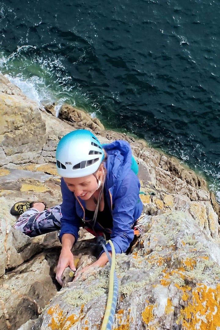Kelly, loving Gogarth on Anglesey