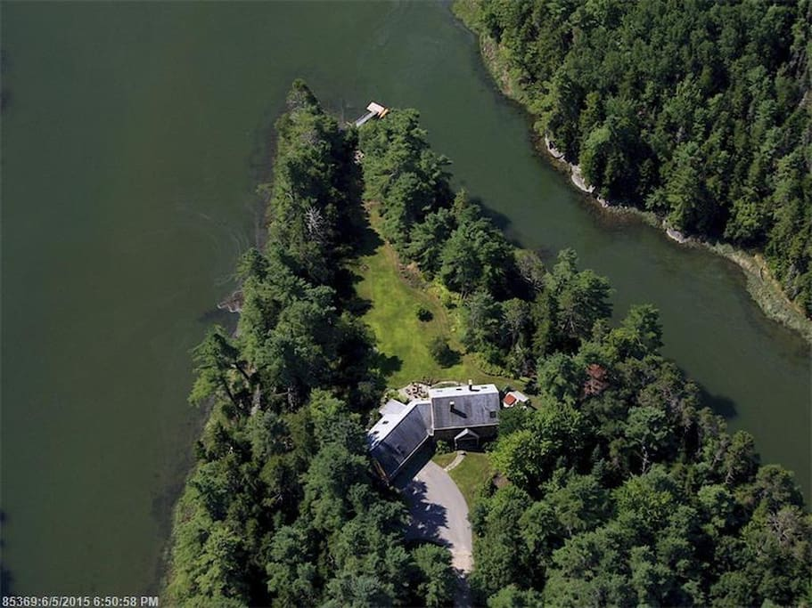 Arial view of the house and point