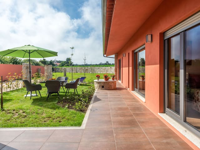 Spacious holiday home with garden located in the village center of Vila de Chã