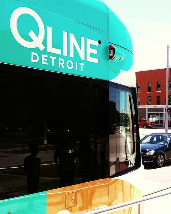 The Q-LINE Rail Stop @ Woodard and West Grand Blvd. Just Minutes away.