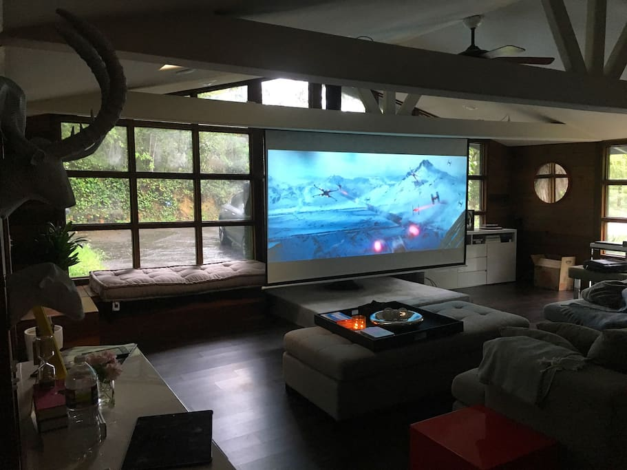 "Enjoy movie nights at Camp Hillrise on our 120"" screen, with our HD projector hooked up to Apple TV"