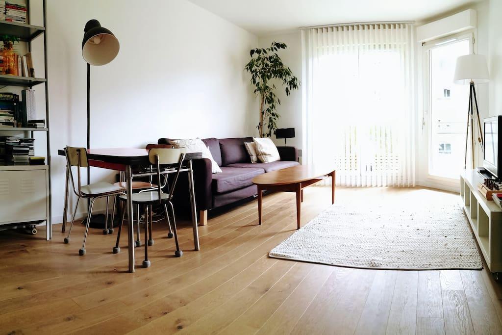 Le salon, avec canapé-lit, grande télé, accès terrasse... la table à manger peut s'agrandir avec deux rallonges
