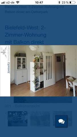 2 Zimmer Wohnung mit Balkon direkt an Oetkerpark