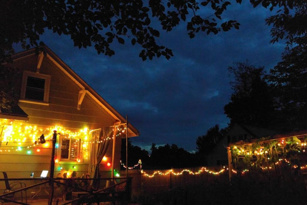 The back yard has string lights all around it.