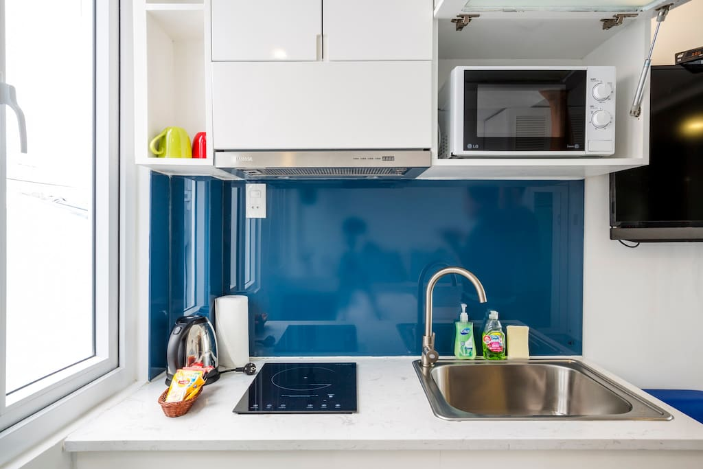 Kitchenette with microwave for your convenience