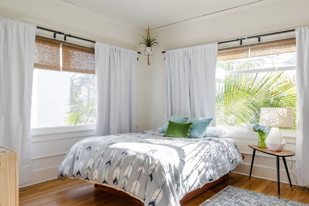 Sunny bedroom #1 White out curtains allow for a perfect nights sleep.