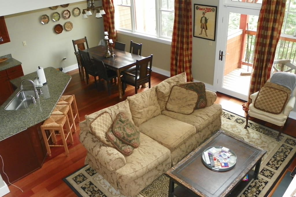 River Side Vacation NH Condo with Fabulous Living Area and Music of the River