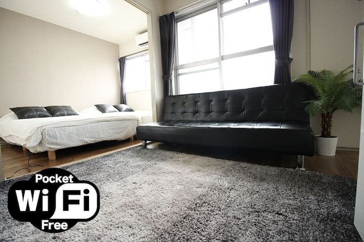 45sq Big Room☆Namba10min/Shinsaibashi10min☆UpTo9