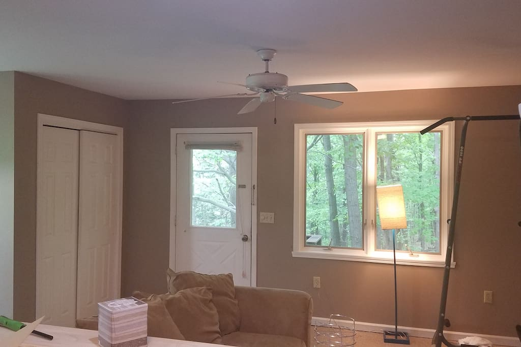 Comfy couch and small work out area with coat closet